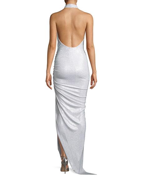 Plunging Glitter Jersey Halter Gown
