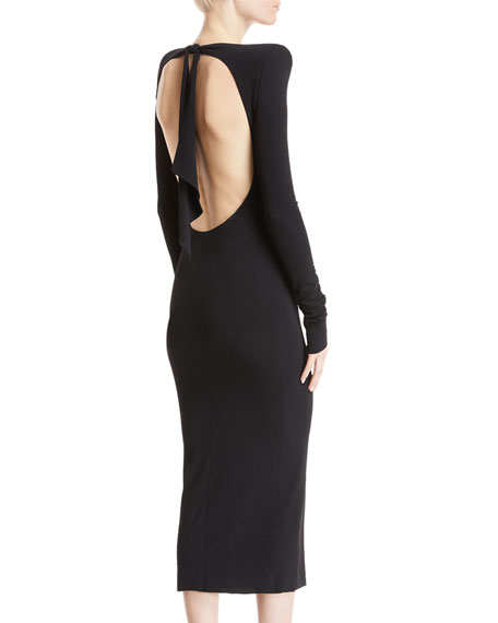 Ruched Open-Back Cocktail Dress