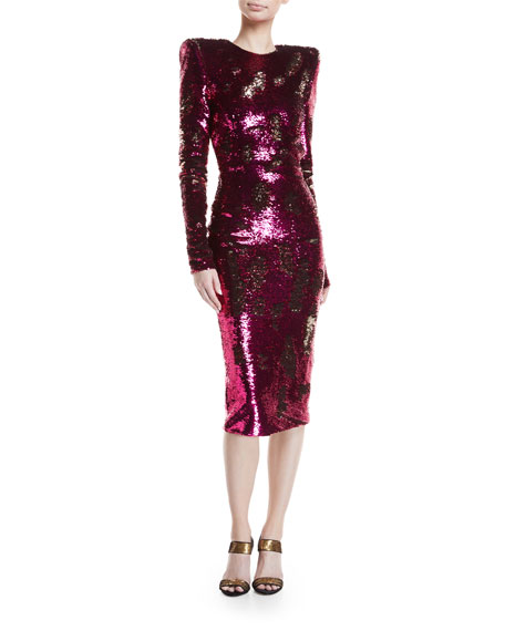 Sequined Long-Sleeve Open-Back Cocktail Dress