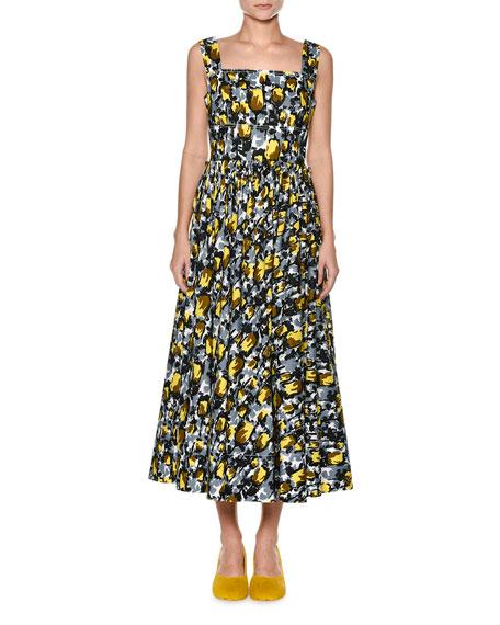 Square-Neck Cotton Midi Dress