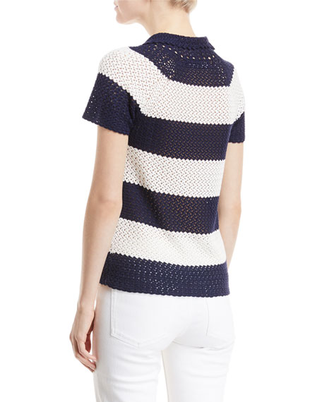 Crocheted Stripe Polo Top