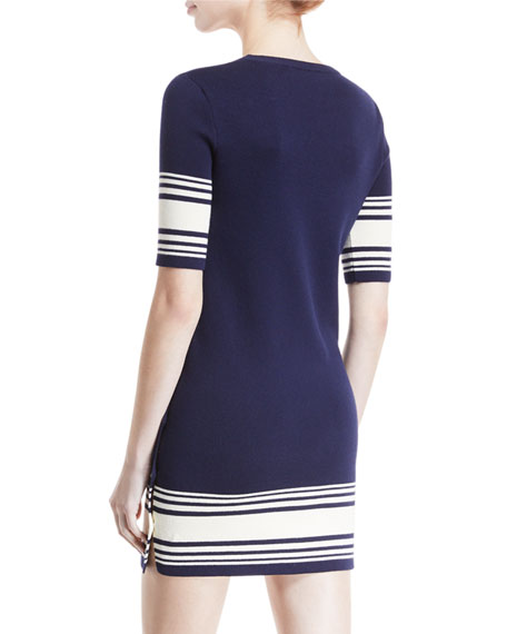 Striped Button-Trim Half-Sleeve Dress