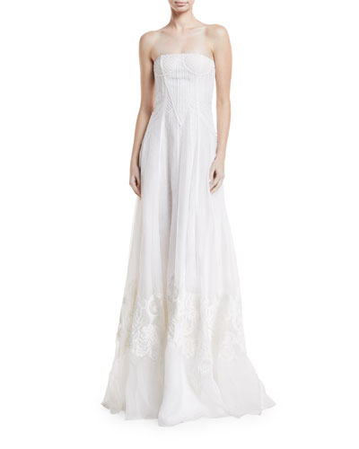 Tamia Strapless Embroidered Silk Gown