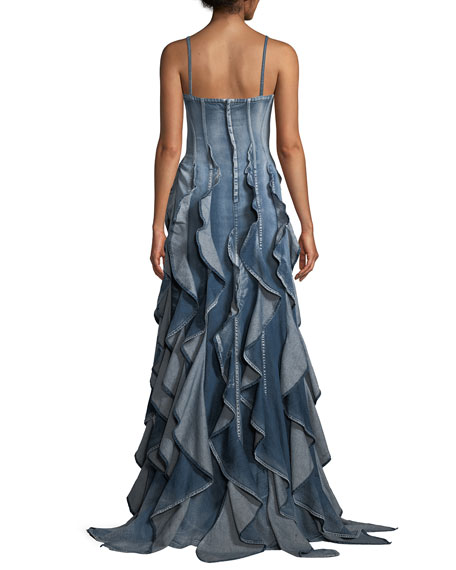 baddbae98e09 Ralph Lauren Collection Eve Sleeveless Ruffled Denim Evening Gown