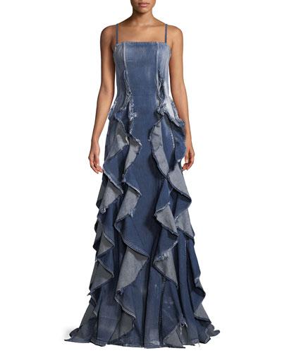 Eve Sleeveless Ruffled Denim Evening Gown