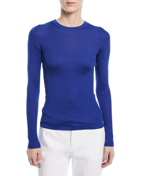 Ribbed Silk Crewneck Shirt
