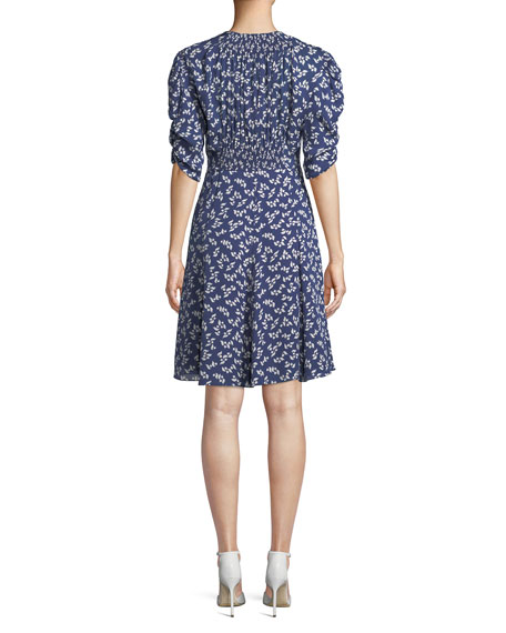 Laverne Elbow-Sleeve Floral-Print Silk Dress