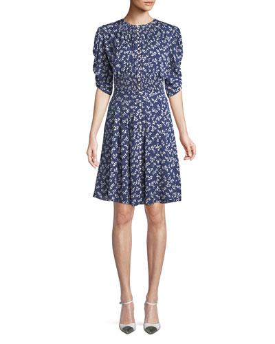 Laverne Elbow-Sleeve Floral-Print Silk Dress