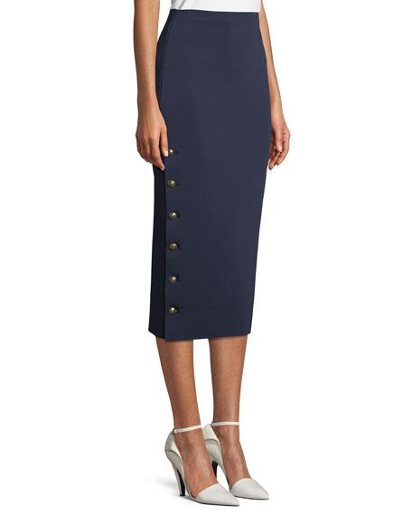 Button-Side Knit Pencil Skirt