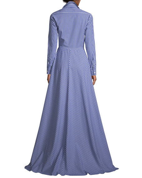 Rivera Gingham Cotton Shirtwaist Gown