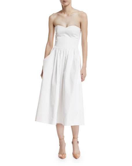 Ruthie Strapless Cotton Midi Dress