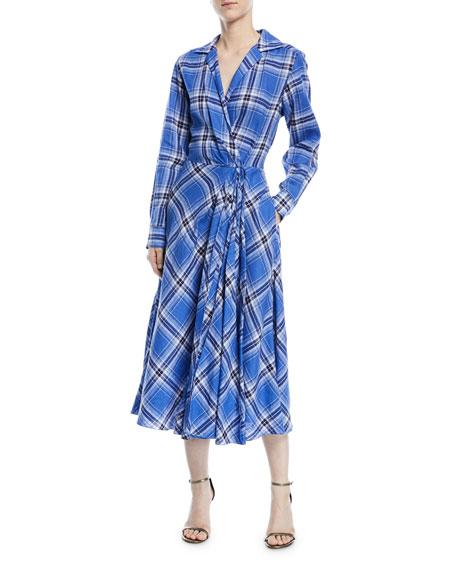 Rivera Plaid Linen Dress