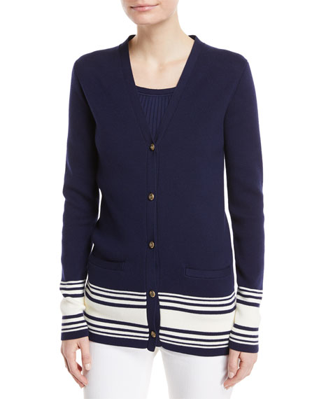 Stripe-Trim Knit Cardigan