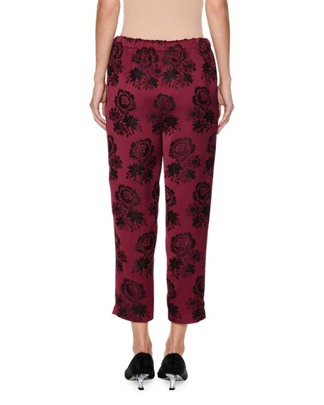Cropped Rose-Embroidered Pajama Pants