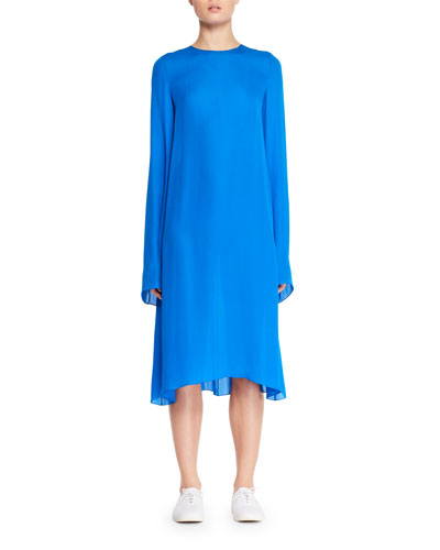 Bantoi Crewneck Long-Sleeve Silk Midi Dress