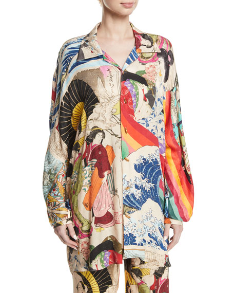Trippin Long-Sleeve Button-Down Printed Oversized Blouse