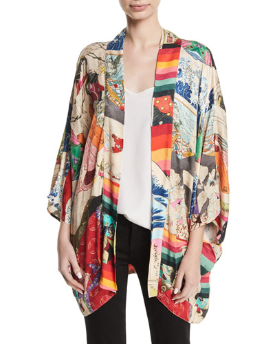 Trippin Belted Printed Kimono Blouse