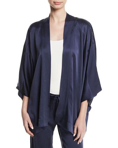 Open-Front Silk Satin Kimono Blouse