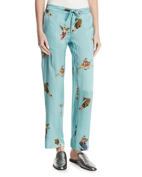 Fishgeisha Print Pajama Pants