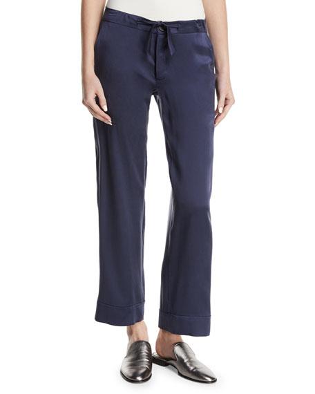 Straight-Leg Silk Satin Pajama Pants