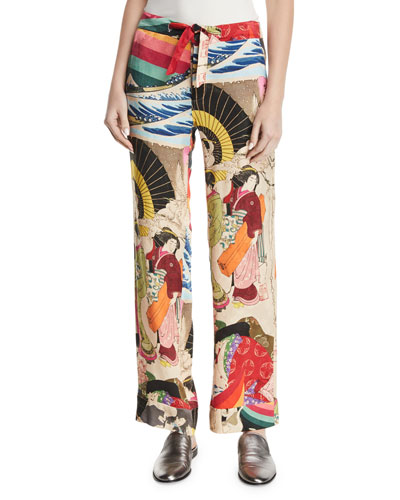 Trippin Drawstring Printed Woven Pajama Pants