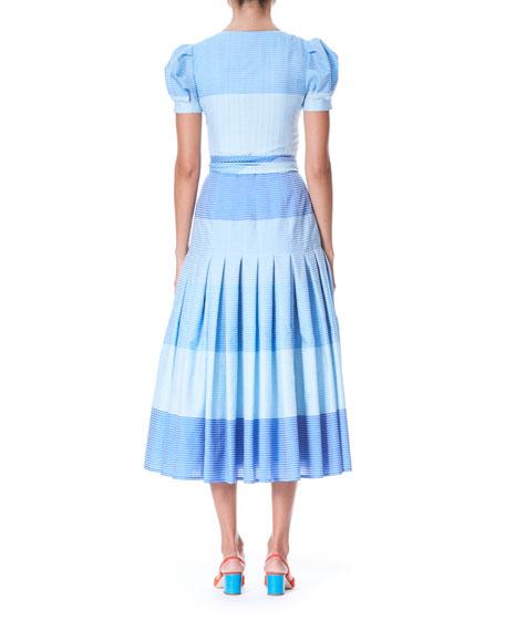 Striped Puff-Sleeve Midi Shirtdress