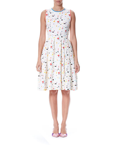 Sleeveless Terazzo Tile-Print Dress