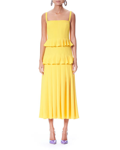 Pleated Silk Crepe Midi Dress