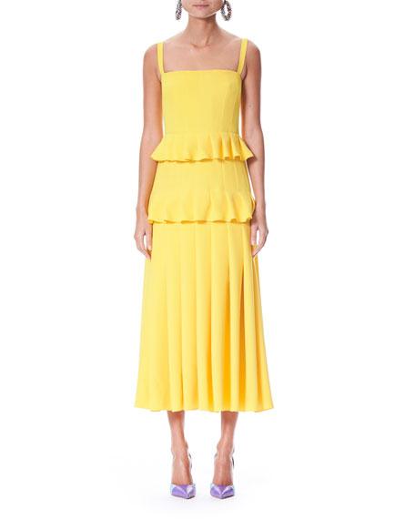 Pleated Silk Crepe Midi Dress