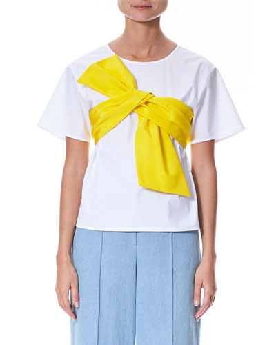 Short-Sleeve Bow-Front T-Shirt
