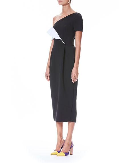One-Shoulder Two-Tone Ruffle Dress