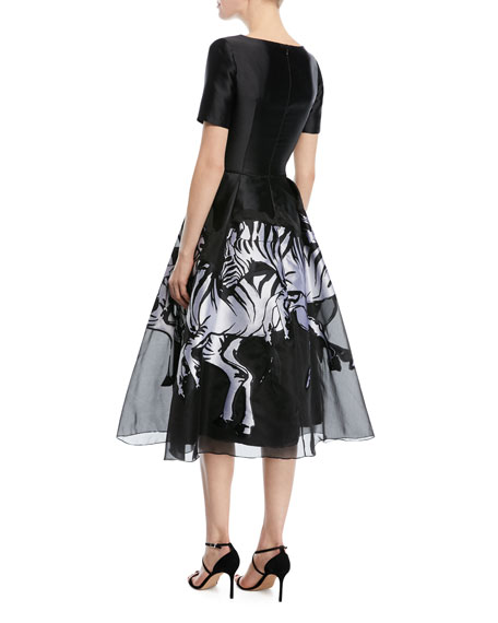 Short-Sleeve Faille Zebra Cocktail Dress