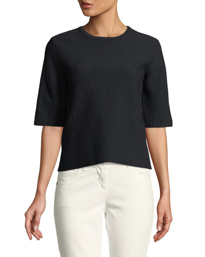 Crewneck 3/4-Sleeve Boxy Knit Top