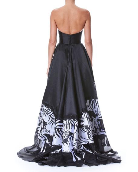 Strapless Bustier Zebra-Print Evening Gown