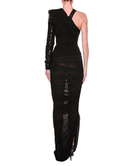 One-Shoulder Ruched Gown with Beaded Embellishment
