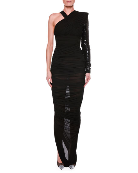 One-Shoulder Ruched Gown With Beaded Embellishment in Black from TOM FORD