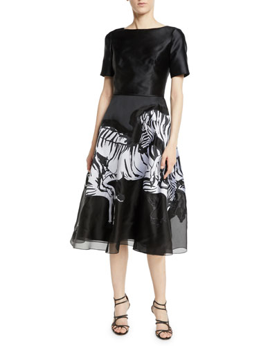 Short-Sleeve Fit-and-Flare Cocktail Dress w/ Running Zebra Print