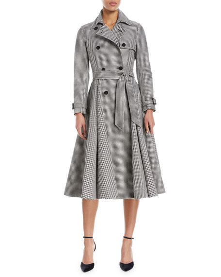 Houndstooth A-Line Trenchcoat