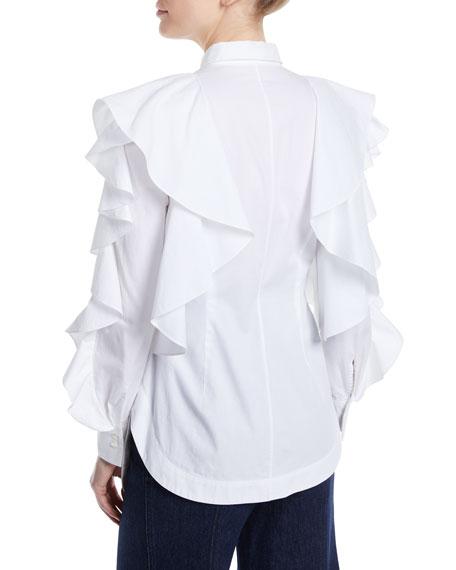 Long-Sleeve Ruffle Blouse