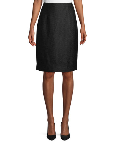 Tweed Knee-Length Pencil Skirt