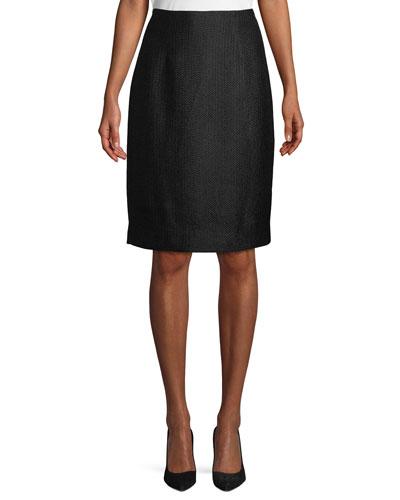 Tweed Knee-Length Pencil Skirt