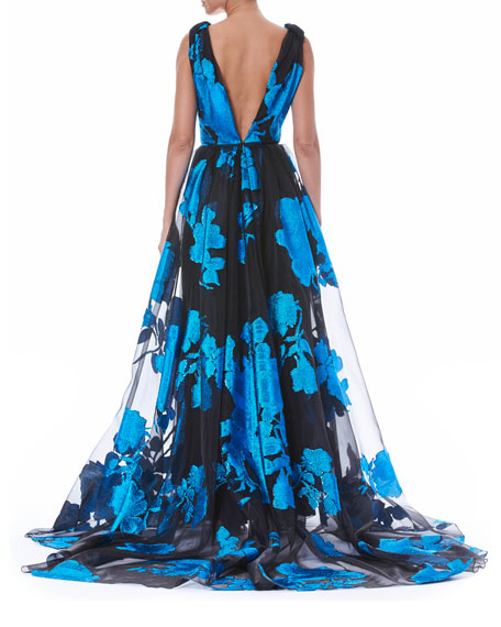 Floral Fil Coupe Organza Gown