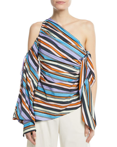 Striped One-Shoulder Top