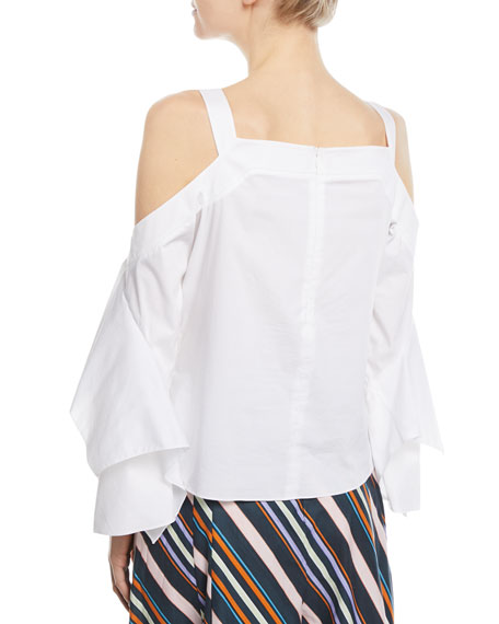 Cold-Shoulder Poplin Top