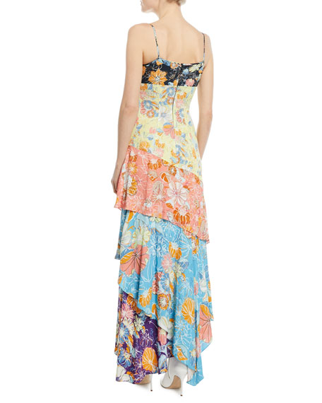Floral Patchwork Tie-Front Midi Dress