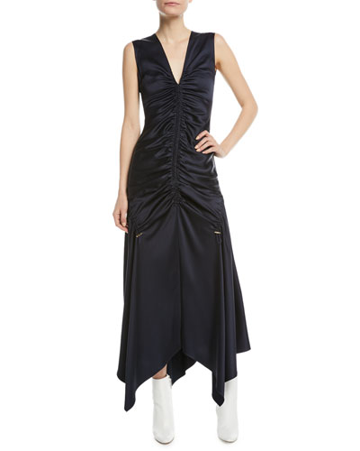 Sleeveless Ruched Satin Midi Dress