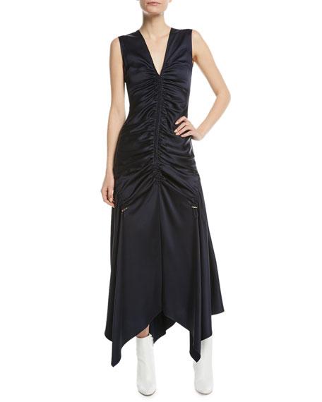 Sleeveless Ruched Satin Midi Dress