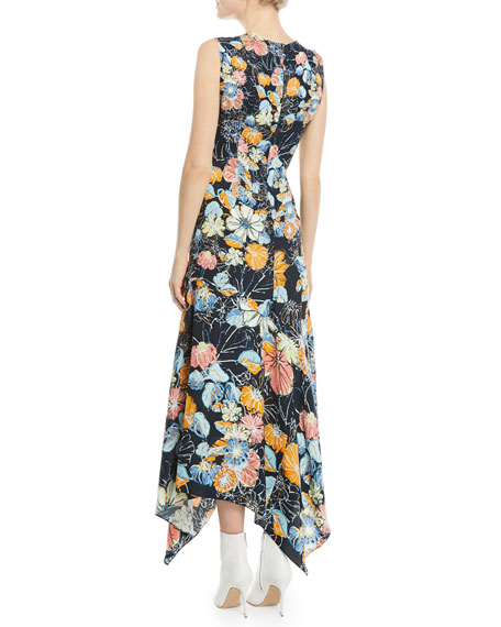 Sleeveless Ruched Floral Satin Maxi Dress