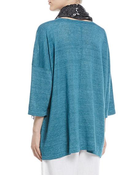 Wide Short-Sleeve Knit Lightweight Linen T-Shirt