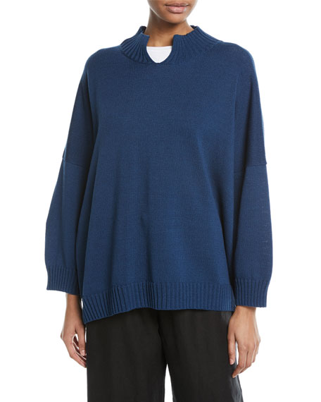Hand-Loomed Longer Back Split-Neck Cotton Sweater